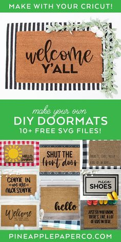 FREE Welcome Y'all SVG to make a DIY Doormat with your Cricut PLUS 10 MORE FREE DOORMAT SVGS at Pineapple Paper Co. #totallyfreesvg #cricut #diydoormat #cricutdoormat #svgfiles #svg #freesvg #doormatsvg Cricut Stencils, Stencil Diy, Cricut Vinyl, Svg Files For Cricut, Vinyl Crafts, Vinyl Projects, Cricut Tutorials, Cricut Ideas, Diy Crafts How To Make
