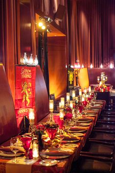 House of Lannister Kings Table http://www.duncanreyesevents.com/game-of-thrones/game-of-thrones-holiday-party-at-the-clift-san-francisco-winter-is-coming/