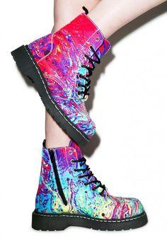 69f31f8d3 T.U.K. Mix Paint 7 Eye Combat Boots Irregular Choice Boots, Irregular Shoes,  Dream Shoes