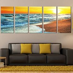 Stretched Canvas Art Landscape The Twilight of The Sea Set of 5 - USD $ 99.99