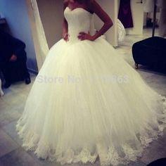 2014 Elegant Custom Made Strapless Floor Length Tulle Lace Bridal Ball Gown Plus Size Wedding Dresses 2014