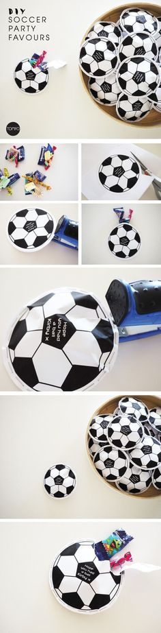 Planning a soccer party? Try these DIY Soccer Party Favours, too cute! There's a free printable and other party ideas on this blog too.