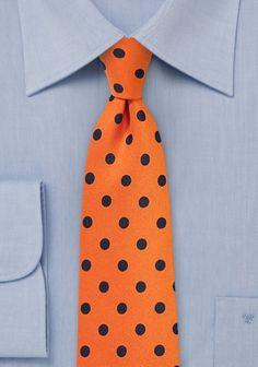 Krawatte grob punktgemustert orange navyblau
