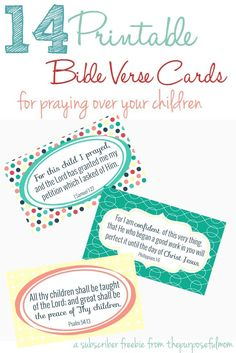 14 Bible Verses to Pray Over Your Children (FREE Printable Bible Verse Cards) - Homeschool Giveaways Printable Bible Verses, Scripture Cards, Printable Cards, Bible Scriptures, Free Printables, Prayer Cards, Soli Deo Gloria, Verses For Cards, Christian Parenting