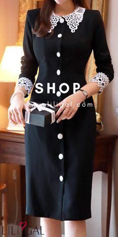 USD34.90 Black Button Front Crochet Detail Dress #liligal #dresses Elegant Dresses Classy, Casual Dresses, Short Dresses, Modest Fashion, Fashion Dresses, Looks Kate Middleton, Frock Patterns, Casual Wear Women, Mode Hijab