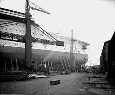 RMS Aquitania on the stocks 1914