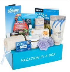 August Napa Valley Escape Monthy - 35% Off Escape Monthly | My Subscription Addicition Love this box! Napa and Sonoma travel guide, bath candles, dead sea bath salts, mud facial mask, napa wine infused soap, loofah, body scrub and wine pairing cookies!!!