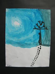 Well the last two weeks have been busy at our school with 4 days of skiing. We lucked out and had beautiful weather with around degrees C. Christmas Art For Kids, Winter Crafts For Kids, Grade 1 Art, Winter Art Projects, Winter Painting, Z Arts, Elementary Art, Art Lessons, New Art