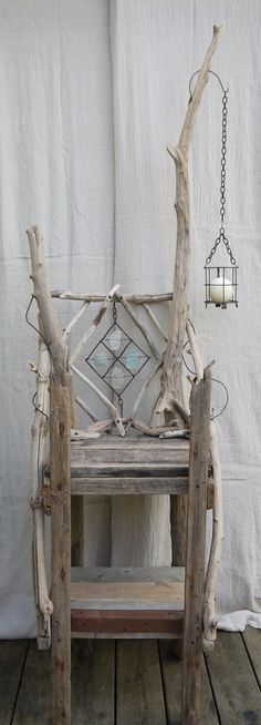 Driftwood, sea glass and metal display cabinet,shelves