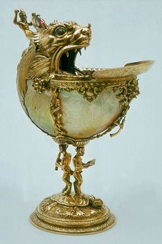 Attr to - Nautilus Cup, Silver-gilt, nautilus shell, glass and enamel. Delft, Art Nouveau, Shell Decorations, Nautilus Shell, Seashell Art, Sculpture, Ancient Artifacts, Art Object, Sea Shells
