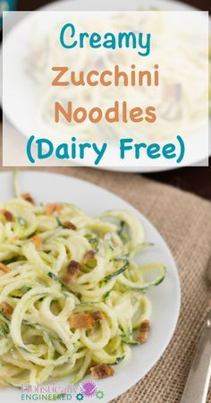 Creamy Zucchini Noodles | I am addicted to zoodles! My vegetable spiraler is currently my favorite kitchen gadget!