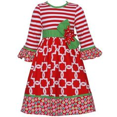 Counting-Daisies-Little-Girls-Red-Green-Christmas-Dress-Size-5-Holiday-Boutique