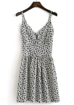 Sundress black and white floral daisies