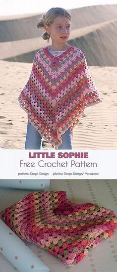 Little Sophie Poncho Free Crochet Pattern - Crotchet - Roupas Ideias Crochet Simple, Easy Crochet Patterns, Knitting Patterns Free, Free Knitting, Free Pattern, Shawl Patterns, Poncho Au Crochet, Knit Crochet, Crochet Vests