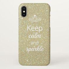 Keep Calm and Sparkle Gold Glitter Princess iPhone Case / iPhone X case / afflink Iphone 8 Plus, Iphone 7, Apple Iphone, Iphone Cases, New Phones, Keep Calm, Gold Glitter, High Gloss, Sparkle