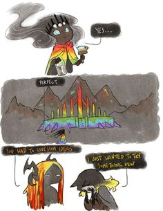 THIS IS THE BEST. Woah. What if Melkor had a fabulous multicoloured cape to match because he was jelly.