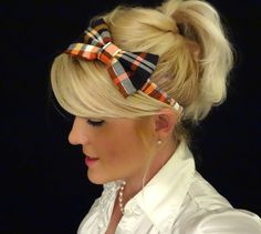 Halloween/harvest plaid bow stretch headband by VintageBowBoutique, $8.00