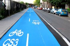 "London just in time for the Olympics has two new ""cycle superhighways"" in the city. Each is five feet wide, has two lanes so as to accommodate traffic in both directions, and is painted bright blue to ""represent freedom.""     You can support us with your tax-deductible donation paying online or sending a check (listing our names). Details at http://hazon.kintera.org/2012nyride/carmona"
