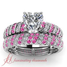 .90 Ct Heart Shaped Diamond Pink Sapphire Rope Style Wedding Rings Set in White Gold GIA