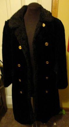 Vintage 1970s Black Fur Coat By Fingerhut Size 2/Mod/Hippie/Disco/Jacket/Bohemia