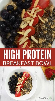 Healthy and super easy vegan high protein breakfast bowl. All whole food plant based ingredients and no protein powder used. This bowl contains 23 g of plant based protein. High Protein Vegan Recipes, High Protein Low Carb, Protein Foods, High Protein Breakfast, Breakfast Bowls, Plant Based Protein, Plant Based Diet, Post Workout Food, Clean Diet