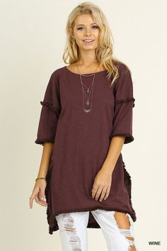 High/Low Tunic With Fringed Hems