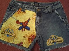 Custom. Denim shorts with Marvel SpiderMan fabric by DesigningEye, sooo awesome