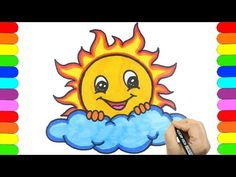 How to Draw Cute Sun Easy and step by step🌞💗🌞 Sun Drawing for kids⛅🌸 Nursery Drawing TV💗💖💗 Fish Drawing For Kids, Sun Drawing, Easy Drawings For Kids, Life Drawing, Summer Drawings, Fish Drawings, Cartoon Drawings, Cute Drawings, Cartoon Sun