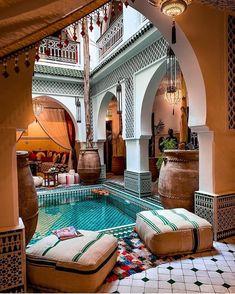 Unique location at the Riad Jemaa El Fna Riad & Spa in Marrakech, Morocco 🇲🇦 📷 Morrocan House, Morrocan Decor, Moroccan Lanterns, Patio Design, Exterior Design, Garden Design, Casa Patio, Moroccan Interiors, Moroccan Bedroom