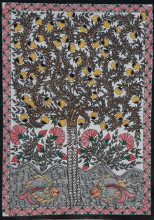 Madhubani 3 traditional art by Mithilesh Jha | ArtZolo.com