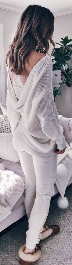 #winter #outfits loose cut-back sweater, white pants, homewear
