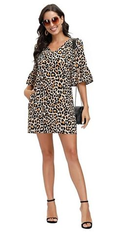 Women's Floral Dress V Neck Half Length Bell Sleeve Causal Loose Shift Mini Tunic Dress with Pockets promo code 501VUTYZ End date: Jul  #offer #sale #deal #Discount