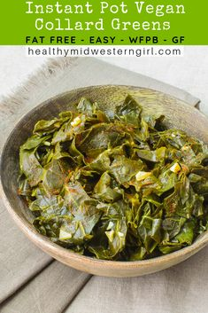 Instant Pot Vegan Collard Greens are smoky, tangy, fat-free, packed with nutrients--with just 3 minutes of active cooking time. Whole food plant-based, GF. Best Vegan Recipes, Whole Food Recipes, Vegetarian Recipes, Healthy Recipes, Vegetarian Barbecue, Barbecue Recipes, Oven Recipes, Vegetarian Cooking, Easy Recipes