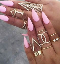 ▷ ideas for pointed nails - framing and design - gel nails pointed pink . - ▷ ideas for pointed nails – framing and design – gel nails pointed pink nails design ide - French Nails, Matte Nails, Acrylic Nails, Sharp Nails, Pink Nail Designs, Nails Design, Pink Design, Design Design, Design Ideas