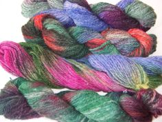 I spun Alpaca and multi dyed the skeins using Gaywool dyes.