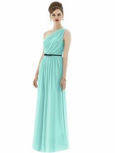 Alfred Sung style D653 is a Full length one shoulder chiffon knit dress w/ natural waist. Draped bodice and shirred skirt w/ patent leather skinny bow belt. Belt available in black or midnight. Also available cocktail length as style D652.