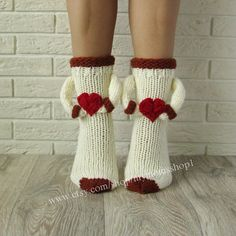 Items similar to Comfortable socks with heart. on Etsy Crochet Socks, Knitted Slippers, Knitting Socks, Baby Knitting, Crochet Baby, Knit Crochet, Diy Candles Video, Diy Home Supplies, Milk Color
