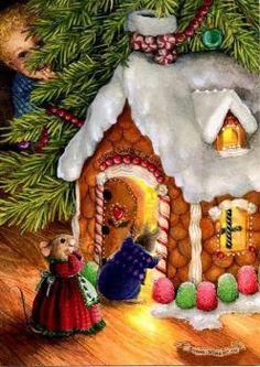 Christmas gingerbread house by Susan Wheeler pieces) Christmas Scenes, Christmas Animals, Noel Christmas, Vintage Christmas Cards, Christmas Pictures, Christmas Gingerbread, Susan Wheeler, Decoupage Vintage, Bunny Art