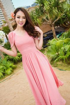 Ericdress Temperament Pink Sweet  Maxi Dress Maximum Style