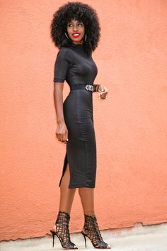 Style Pantry | Black V-Back Sheath Dress