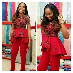 Aso Ebi Styles : Top and Trouser .Aso Ebi Styles : Top and Trouser African Dresses For Women, African Wear, African Attire, African Fashion Dresses, African Women, Ghanaian Fashion, African Clothes, African Style, African Inspired Fashion