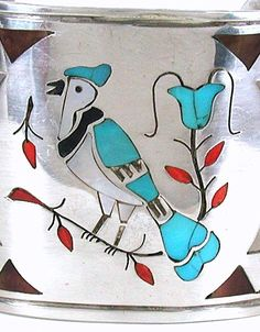 Authentic Native American vintage sterling silver, tuquoise, coral inlay bird bracelet by Navajo H. Spencer