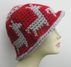 Tapestry Crochet Cloche Wide Rimmed Hat Llama Pattern by WowwyGaZowwy