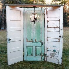 mint and white old door wedding backdrop