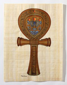 Ankh | Ancient Egyptian Papyrus Painting