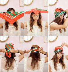 Tulband Om deze eenvoudige tulband maken heb je vierkante of driehoekige sjaal nodig. Volg de stappen en je hebt een übercoole tulband op je hoofd. Ideaal om je haar te beschermen tegen de felle zon.