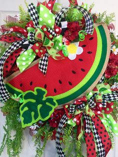 Watermelon Red, Black, and Green Mesh Spring and Summer Wreath by WilliamsFloral on Etsy https://www.etsy.com/listing/386572894/watermelon-red-black-and-green-mesh