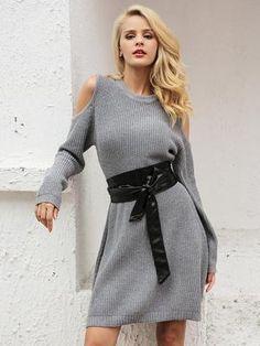 Cold Shoulder Sweater Dress Online Fashion Stores, Affordable Fashion, Cute Dresses, Cold Shoulder, Chiffon, Bodysuit, Shirt Dress, Casual, Skirts