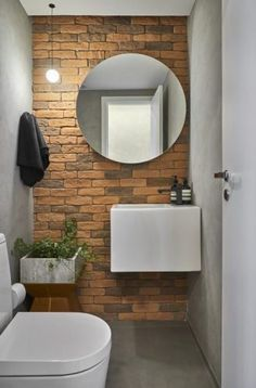 Bathroom tile ideas to get your home design juices flowing. will amp up your otherwise boring bathroom routine with a touch of creativity and color Brick Bathroom, Small Bathroom, Earthy Bathroom, Bathroom Ideas, Bathrooms, Lavabo Design, Tile Design, Faux Brick Walls, Brick Tiles