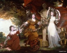 These are the aristocratic Montgomery sisters – Barbara, Elizabeth and Anne. Their father was the Irish aristocrat Sir William Montgomery and they were known as the Irish Graces. They are shown gathering flowers to decorate a statue of Hymen, the Roman god of marriage. Reynolds posed them in what he described as 'a variety of graceful historical attitudes'. These were taken from the work of admired old master painters, such as the seventeenth-century French artist Nicolas Poussin.